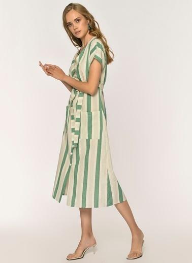 Loves You Önden Düğmeli Çizgili Keten Karışımlı Elbise Yeşil